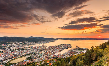 Bergen at sunset